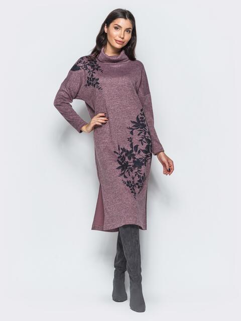 Меланжевое платье розового цвета в стиле oversize  - 17594, фото 1 – интернет-магазин Dressa