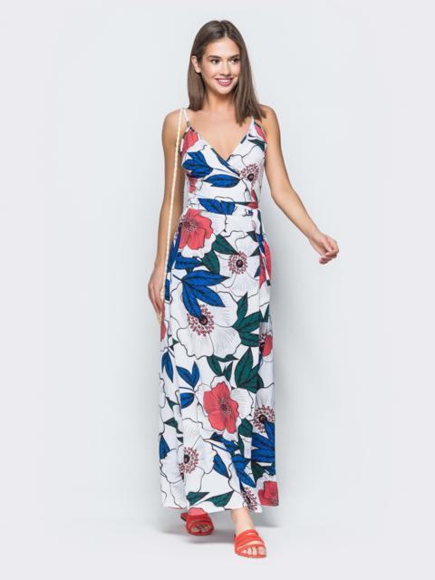 Платье-макси с флористическим принтом и запахом белое 38710, фото 1