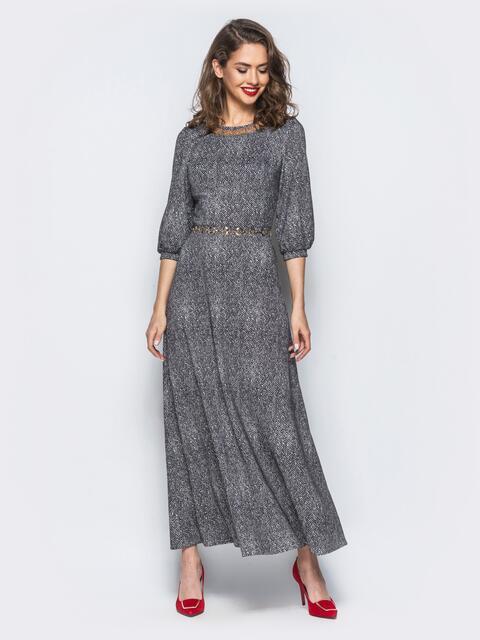 Платье макси с фурнитурой по горловине черное - 18153, фото 1 – интернет-магазин Dressa