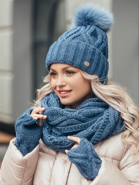 Синий комплект-тройка с шапкой на флисе и хомутом 51126, фото 1