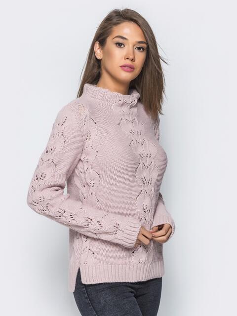 Свитер розового цвета с воротником и перфорацией - 17098, фото 1 – интернет-магазин Dressa