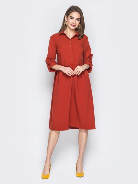 Терракотовое платье-рубашка с шлевками на рукавах - 19645, фото 1 – интернет-магазин Dressa
