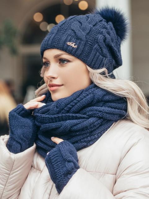 Зимний комплект-тройка с шапкой и хомутом тёмно-синий 51121, фото 1