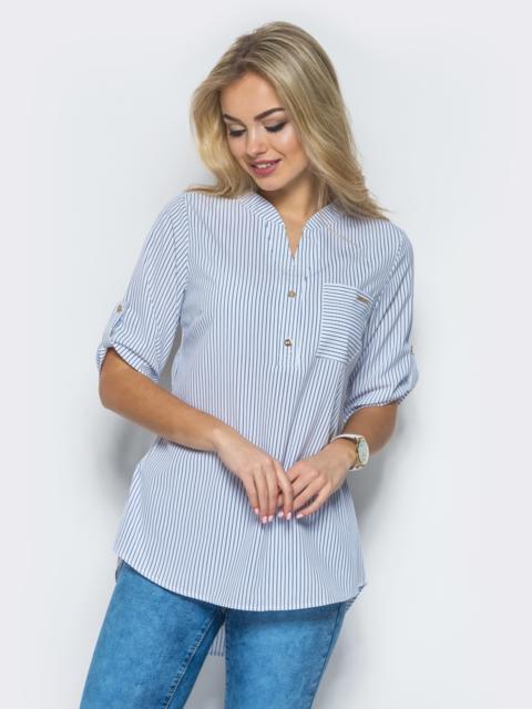 4dec80d8149 Белая блузка в полоску с карманом на полочке - 10269