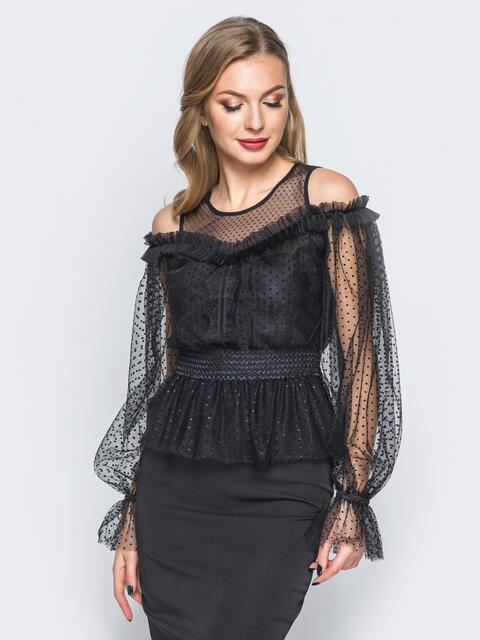 Блузка с фактурным фатином и открытыми плечами черная - 18072, фото 1 – интернет-магазин Dressa