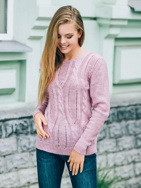 Джемпер с манжетами и низом на резинке розовый - 13096, фото 1 – интернет-магазин Dressa