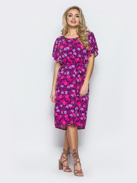 Хлопковое платье свободного кроя пестрой расцветки - 12561, фото 1 – интернет-магазин Dressa