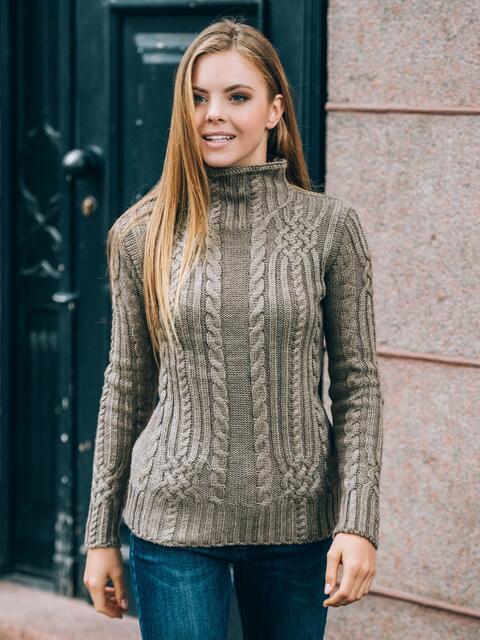 Коричневый свитер плотной вязки - 12980, фото 1 – интернет-магазин Dressa