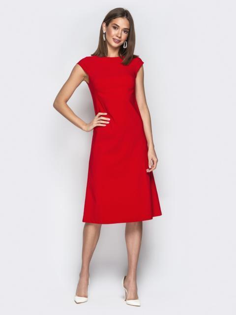 """Красное платье приталенного кроя с рукавом """"крылышко"""" - 20655, фото 1 – интернет-магазин Dressa"""