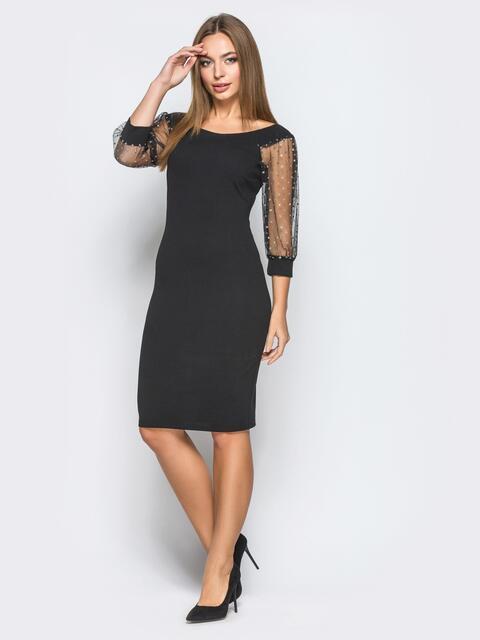 Платье-футляр с рукавами из фатина с напылением черное - 18241, фото 1 – интернет-магазин Dressa