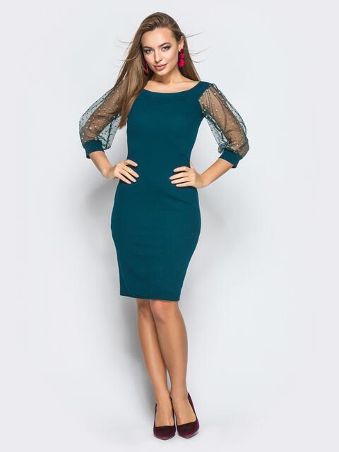 Платье-футляр с рукавами из фатина с напылением зелёное - 18243, фото 1 – интернет-магазин Dressa