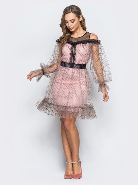 Платье из фатина с подкладкой и контрастным кружевом розовое - 18089, фото 1 – интернет-магазин Dressa