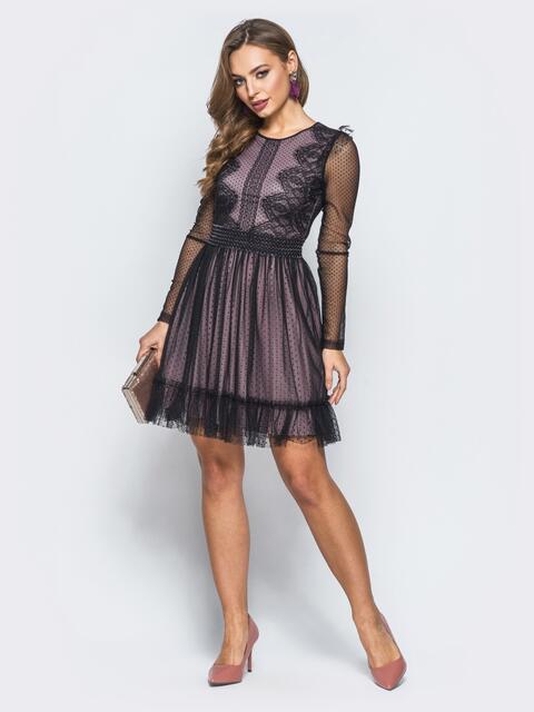 Платье лилового цвета с расклешенной юбкой из фатина - 18088, фото 1 – интернет-магазин Dressa