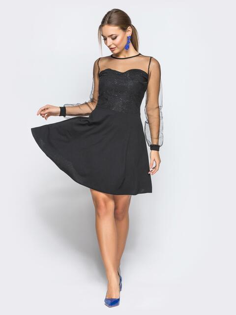 f2c9f8c3b6c Платье с юбкой-полусолнце и верхом из фатина с напылением черное - 18236