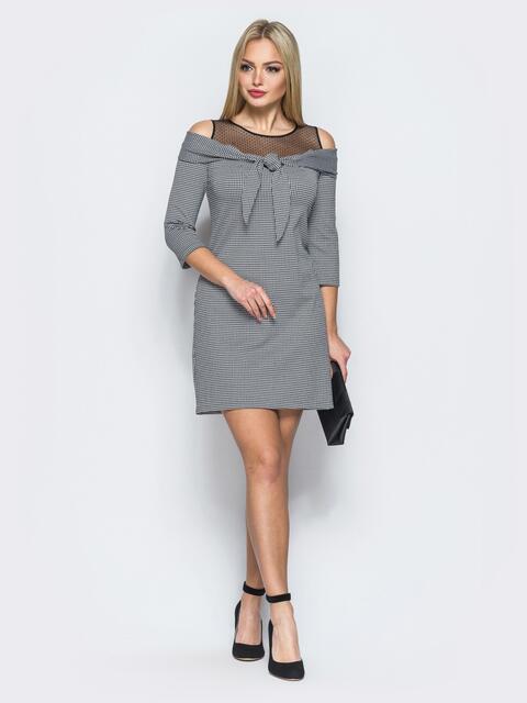 Платье в полоску с бантом по горловине серое - 18085, фото 1 – интернет-магазин Dressa