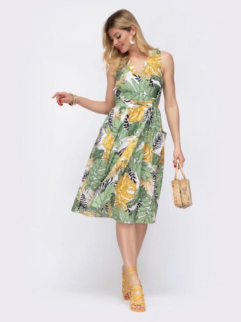 Принтованное платье на запах с отрезом по талии - 48038, фото 1 – интернет-магазин Dressa