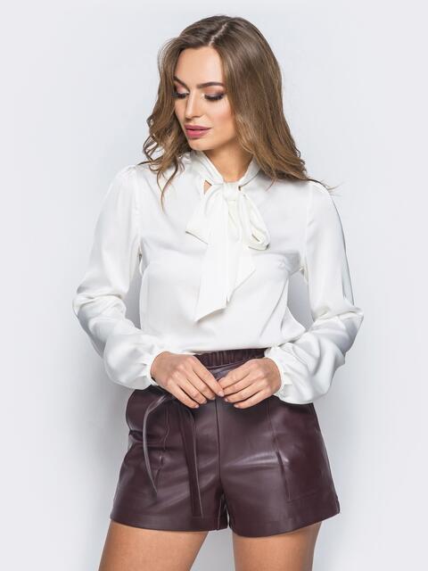 Шелковая блузка белого цвета с воротником аскот - 18073, фото 1 – интернет-магазин Dressa