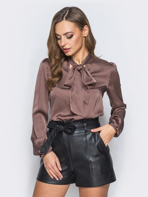 Шелковая блузка коричневого цвета с воротником аскот - 18074, фото 1 – интернет-магазин Dressa
