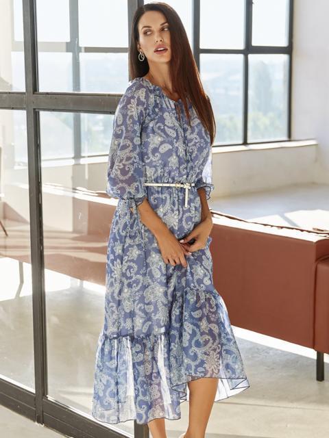 Шифоновое платье-миди с принтом и воланом по низу синее 54815, фото 1