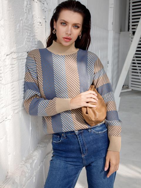 Синий свитер со спущенной линией плечевого шва 51448, фото 1