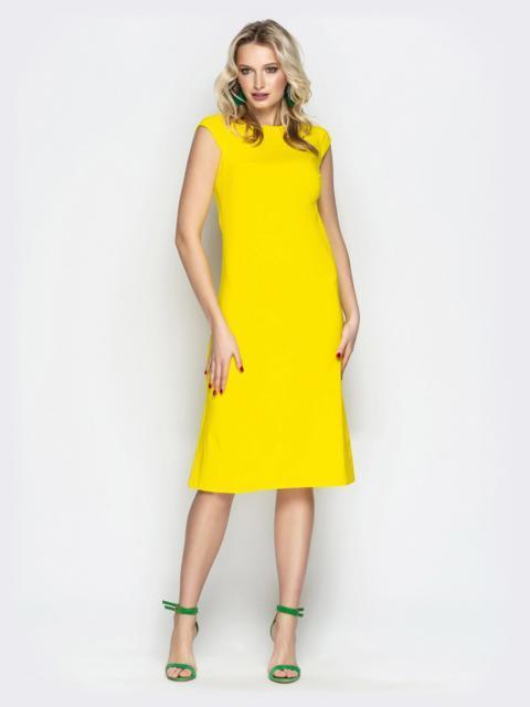 """Жёлтое платье приталенного кроя с рукавом """"крылышко"""" - 20654, фото 1 – интернет-магазин Dressa"""