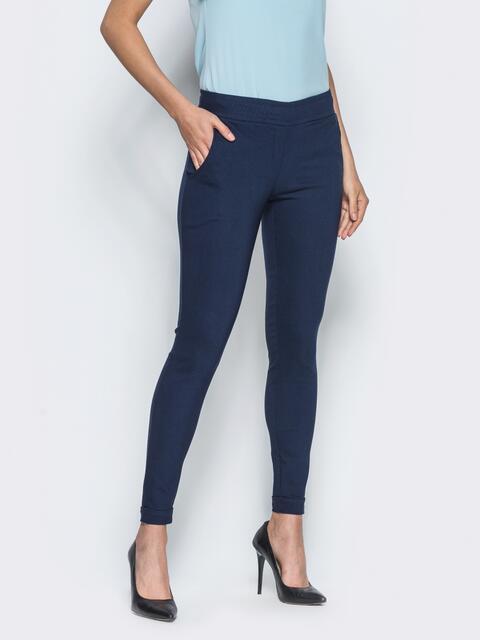 Брюки из стрейч-коттона с карманами в швах тёмно-синие - 14409, фото 2 – интернет-магазин Dressa
