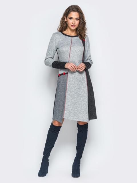 Платье из ангоры с ассиметричным низом - 17526, фото 1 – интернет-магазин Dressa