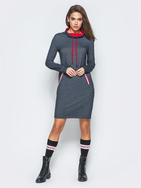 Платье серого цвета с регулируемым воротником - 17680, фото 1 – интернет-магазин Dressa