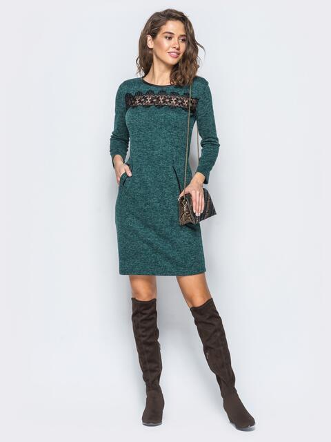 Платье зелёного цвета с кантом из кожзама - 17684, фото 1 – интернет-магазин Dressa