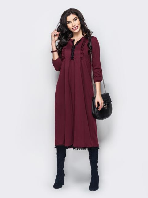 79481c00416 Трикотажное платье с завышенной талией и оборкой на полочке бордовое -  22156