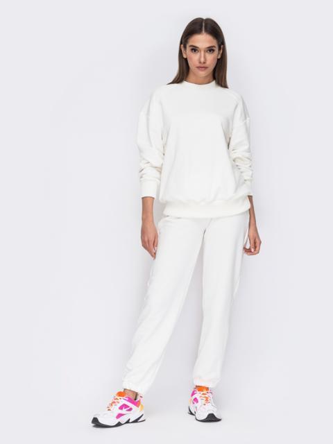 Белый костюм со свитшотом и джоггерами на резинке 53491, фото 1