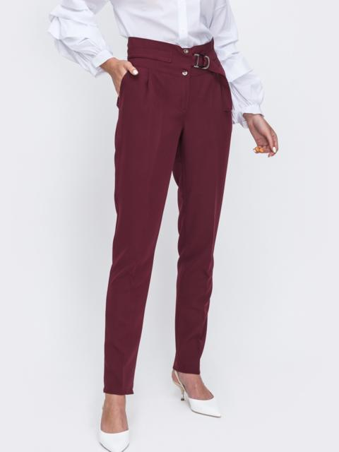 Бордовые брюки прямого кроя со вшитым поясом 49636, фото 1