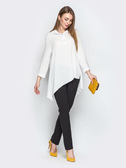 Брючный комплект с асимметричной рубашкой белый - 21189, фото 1 – интернет-магазин Dressa