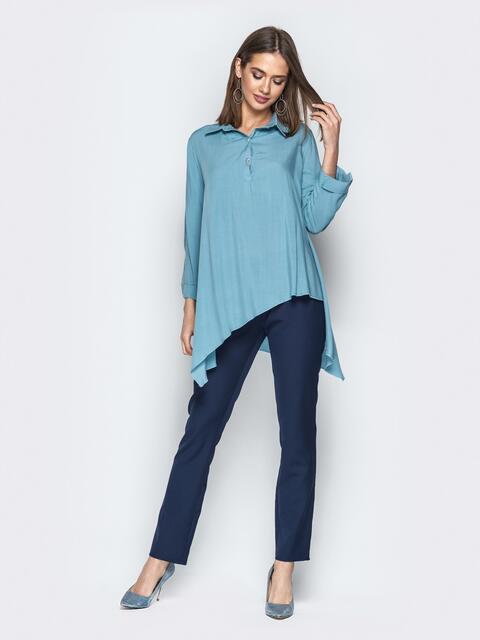 Брючный комплект с асимметричной рубашкой голубой - 21192, фото 1 – интернет-магазин Dressa