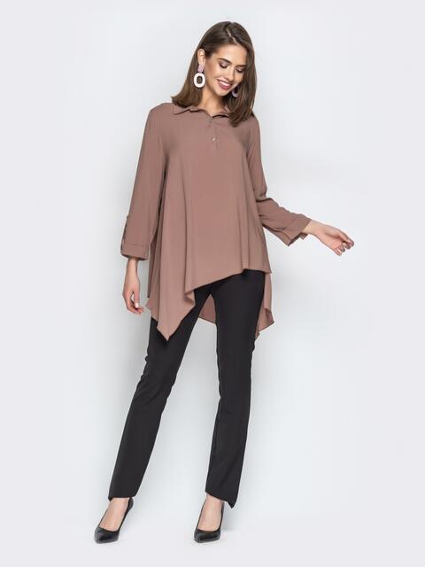 Брючный комплект с асимметричной рубашкой коричневый - 21190, фото 1 – интернет-магазин Dressa