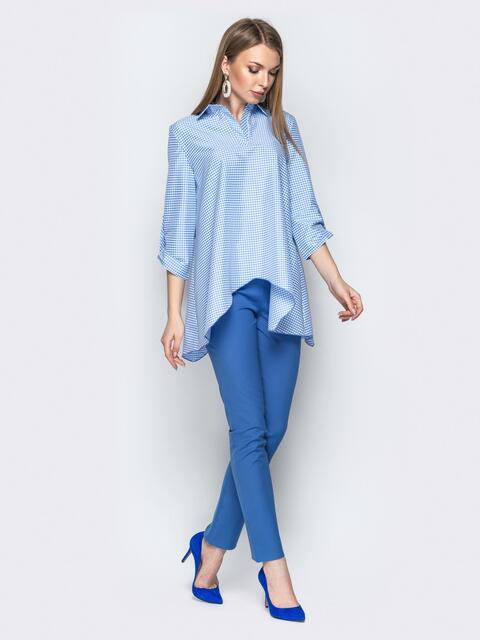 Брючный комплект в клетку с асимметричной рубашкой голубой - 21194, фото 1 – интернет-магазин Dressa
