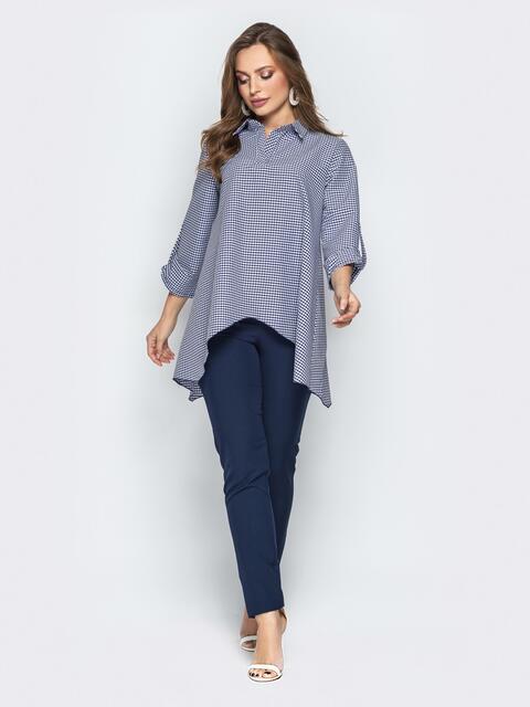 Брючный комплект в клетку с асимметричной рубашкой синий - 21191, фото 1 – интернет-магазин Dressa
