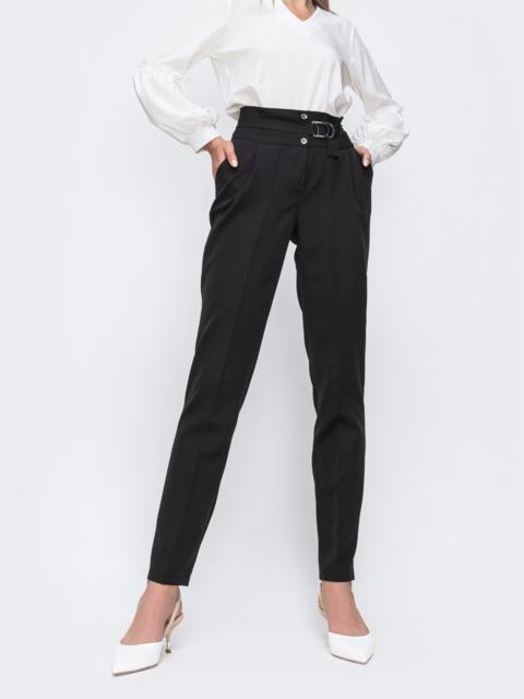 Черные брюки прямого кроя со вшитым поясом 49637, фото 1