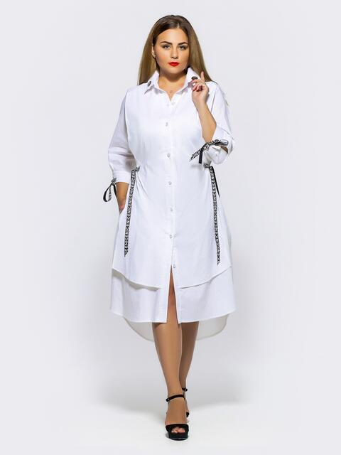 Двухслойное платье-рубашка с завязками на рукавах белое - 28454, фото 1 – интернет-магазин Dressa