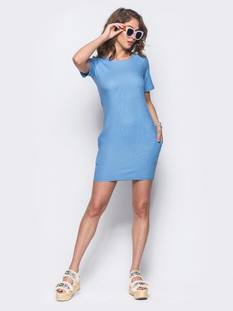 Голубое платье из льна с рукавом реглан 10745, фото 1