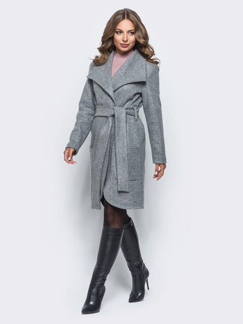 Пальто на запах с поясом в комплекте серое - 16567, фото 1 – интернет-магазин Dressa