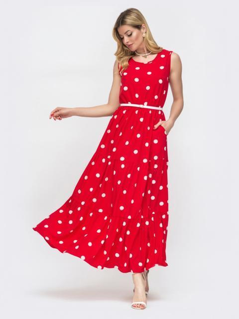 Расклешенное платье в горох красного цвета 48542, фото 1