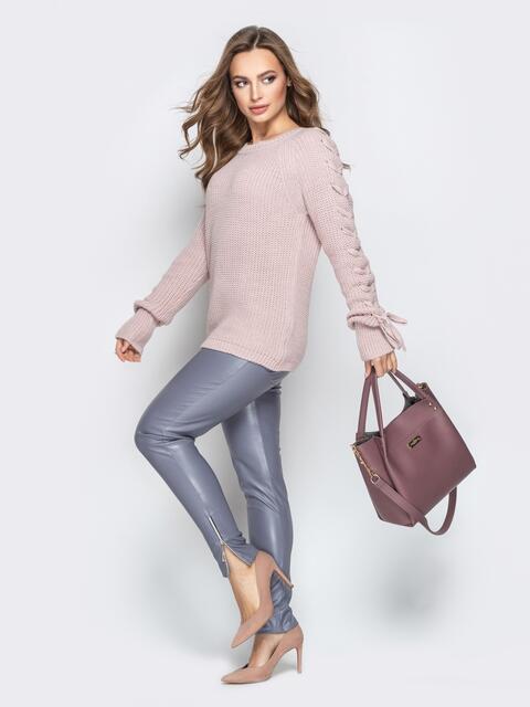 Розовый свитер с рукавами-реглан и прошитыми косами - 20136, фото 1 – интернет-магазин Dressa