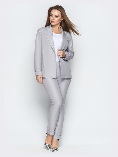 Серый комплект-тройка с жакетом без застёжки и брюками - 21178, фото 1 – интернет-магазин Dressa