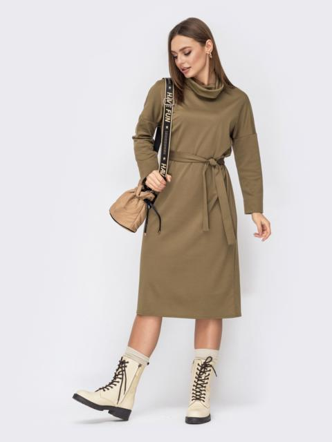 Свободное платье с воротником-хомут хаки 52617, фото 1
