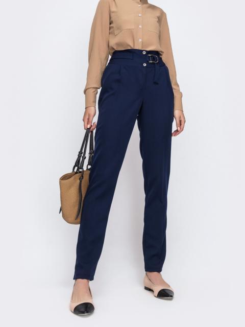 Тёмно-синие брюки с вместительными карманами по бокам - 49635, фото 1 – интернет-магазин Dressa