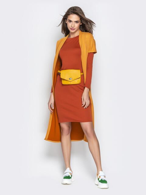 Терракотовый комплект из кардигана и обтягивающего платья - 21175, фото 1 – интернет-магазин Dressa