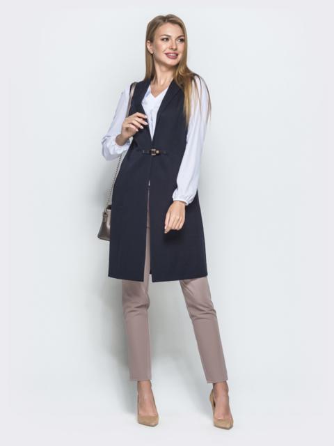 Удлиненный жилет тёмно-синего цвета с карманами - 39729, фото 1 – интернет-магазин Dressa