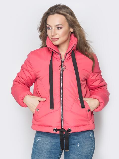 Укороченная куртка с карманами на кнопках красная - 20071, фото 1 – интернет-магазин Dressa