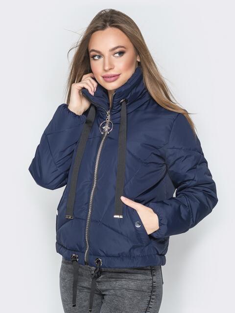 Укороченная куртка с карманами на кнопках тёмно-синяя - 20069, фото 1 – интернет-магазин Dressa